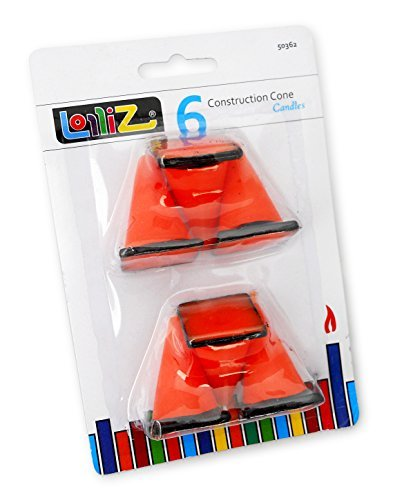 LolliZ® Birthday Candles Construction Cones. Pack of 6. Orange with Black (Construction Cone Party compare prices)