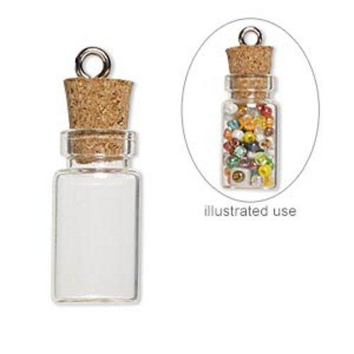 20 Mini Glass Bottles 1-inch Message Treasure Charm Pendant Kit Makes 20 Bottle Pendants (Glass Bottle Charm compare prices)