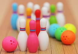 Iwako Miniature Bowling Eraser Set (3 Bowling Pins and 1 Ball) By Japan