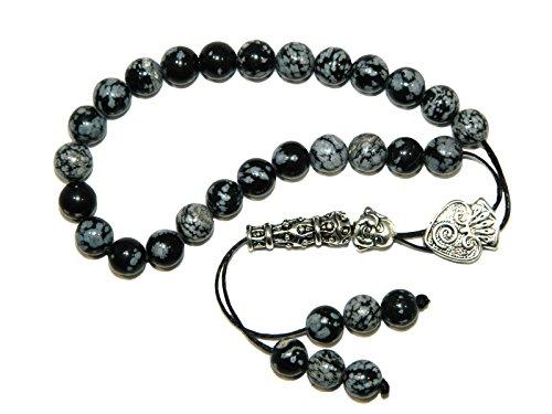 A2-0017 - Loose String Greek Komboloi Prayer Beads Worry Beads Snowflake Obsidian Gemstone