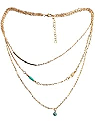STRIPES Present Golden Multi Layer Chain With Hamsa Evil Eye Design Necklace For Women And Girls