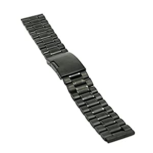 Ritche 22mm Stainless Steel Bracelet Watch Band Strap Straight End Solid Links Color Black