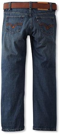 Levi's Big Boys' 505 Straight Fit Jean Belted, WHITECAP, 12 Regular