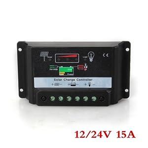 LED Régulateur de charge panneau solaire solar panel controller 15A 12/24V