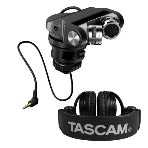 Tascam Tm-2X Stereo Xy Dslr Microphone With Th-02 Headphones Bundle