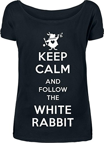 Alice In Wonderland Keep Calm And Follow The White Rabbit Maglia donna nero M