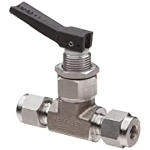 "Ham-Let H1200 Series  Stainless Steel 316 Toggle Valve, Inline, 1/4"" Let-Lok Fitting"