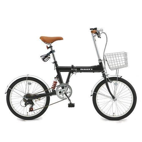 B-GROW Heaven's カギ/カゴ/ライト付20インチ折畳み自転車 シマノ6段変速ヘブンズ ブラック BF-K206-BK