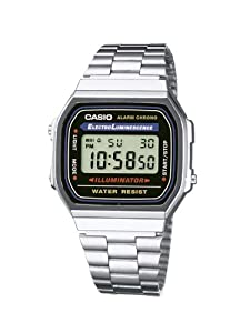 Casio - A168WA-1YES - Montre Homme- Quartz digitale - Chronographe - Bracelet acier