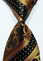 Scott Alone : New Classic Gold Black Striped 100% New Jacquard Woven Silk Men's Tie Necktie