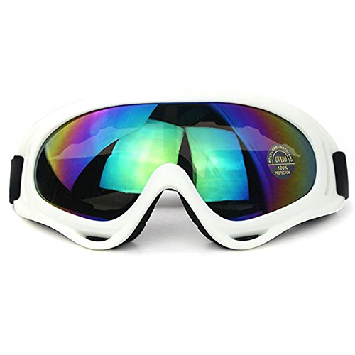 Ski Goggles Snowboard Adjustable UV Protective Motorcycle Goggles Outdoor Tactical Glasses Dust-proof Protective Combat Goggles Military Sunglasses Outdoor Activities Protective Glasses White Goggle