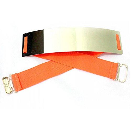 Fashion Mirror design ceinture élastique haute taille en métal doré Orange