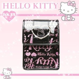 取寄品:2週間前後 リップケース ピンク キティ ロゴ総柄・シルバーハートメタル ハローキティ