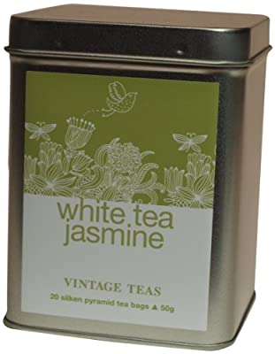 Vintage Teas Weißer Tee mit Jasminblüten, 20 Pyramidenbeutel in Metalldose, 2er Pack (2 x 50 g) von Vintage Teas - Gewürze Shop