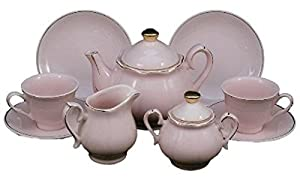 Princess Pink Fine China Childs Size Tea Party Tea Set -Service For Two and Keepsake Storage Hat Box