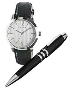 Cross Men's Quartz Watch with Silver Dial Analogue Display and Black Leather Strap CR1002 with Pen