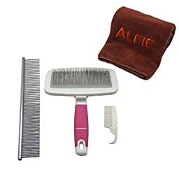 Alfie Pet by Petoga Couture - Kalin Soft Slicker Brush and Groomer Comb Set with Microfiber Fast-Dry Washcloth, Color: Pink, Size: Large