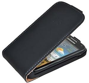 Suncase Flipstyle Echt Ledertasche für Samsung Galaxy Ace 2 i8160 in schwarz