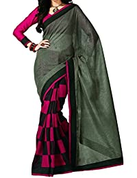 Sai Fab Branded Women's Indian Style Bhagalpuri Silk Grey Printed Perfect Saree With Blouse Piece ( Best Present...