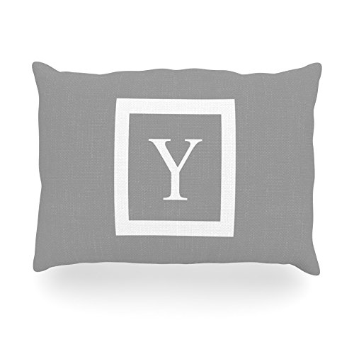 "Kess Inhouse Kess Original ""Monogram Solid Grey Letter Y"" Oblong Rectangle Outdoor Throw Pillow, 14 By 20-Inch front-1014322"