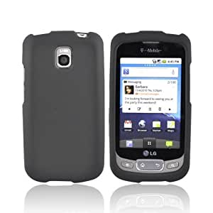 BLACK For LG Optimus T P509 Rubberized Hard Case Cover