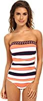 Tommy Bahama Women's Rugby Palm Shirred Bandeau Cup One-Piece
