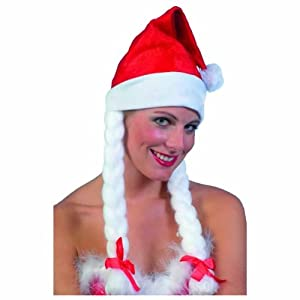 Santa Hat, Red and White, with Plaits