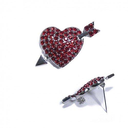 SG Paris Brooch Rhodium Siam Rg Clair/Corail/Siam Brooch Brooch Glass Winter Women Retro Glam Fashion Jewelry / Hair Accessories Heart