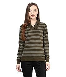 Hypernation Military Green Stripe Round Neck Cotton T-shirt