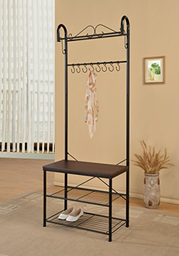 Black Metal and Cappuccino Entryway 2-tier Shoe Bench with Coat Rack Hall Tree Storage Organizer 8 Hooks - 70