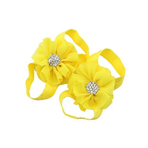 ACVIP Doppia Neonata in Chiffon e Nastro Sandali a Piedi Nudi Fiore Scarpe (giallo)