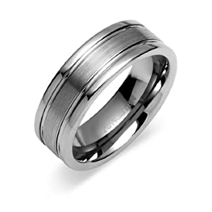Mens Silver Tungsten Carbide Ring