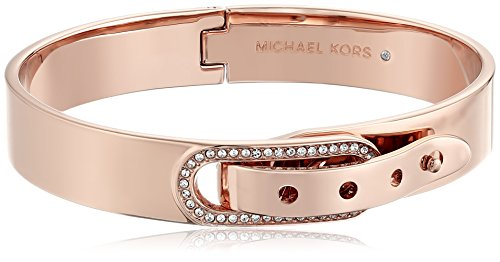MICHAEL KORS MKJ4616 Rose Gold Tone Pave Buckle Bangle Bracelet