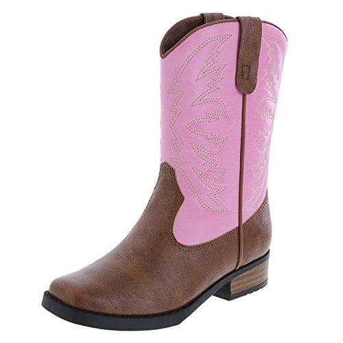 Pink Tan Girls' Square Toe Western Boot