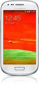 Samsung Galaxy S3 mini (GT-I8200) Smartphone 10,16 cm (4 Zoll) Touchscreen, 5 Megapixel Kamera, 8GB Speicher, microSDHC-Kartenslot, Android 4.2) - Weiß
