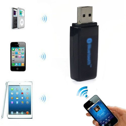Towallmark Usb Bluetooth 3.5Mm Stereo Audio Music Receiver Adapter For Speaker Iphone Mp3 Black