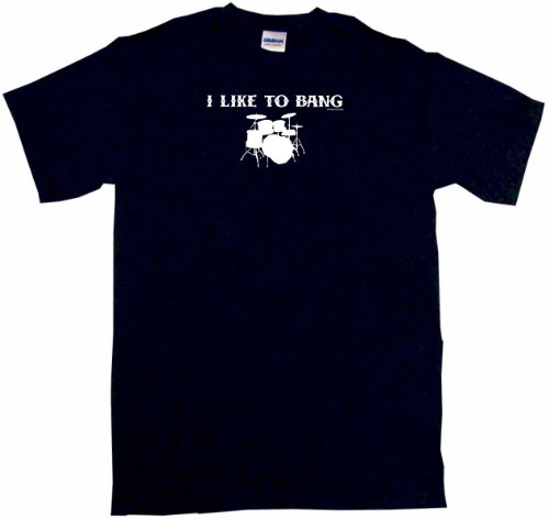 I Like To Bang Drums Drum Set Logo Women'S Tee Shirt Xxxl-Black-Regular