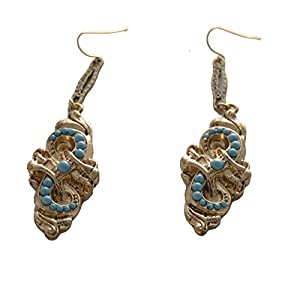 Matte Gold Braid Design Drop Stud Earrings with Turquoise Beads (in a Gift Pouch)