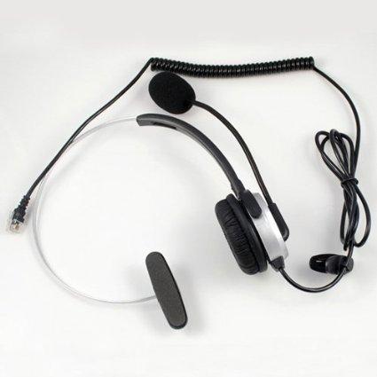 Abcgoodefg® Call Center Hands-Free Headset Headphone Desk Telephone Monaural Mic Mircrophone Noice Cancelling Silver