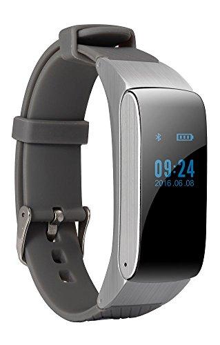 Bluetooth Smart Bracelet Headset Earphone Smartwatch Waterproof Touch Screen Fitness Tracker Pedometer Anti-theft Looking Phone for Smartphones DF22 (silver-gray)