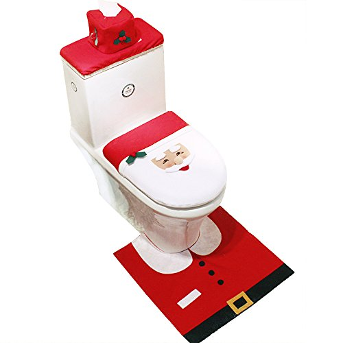 Christmas toilet seat cover sets - JILLBAN 4Pcs Xmas Bathroom Set Seat Cover Tank Lid Cover Rug & Tissue Cover for Bathroom Decoration (Santa)