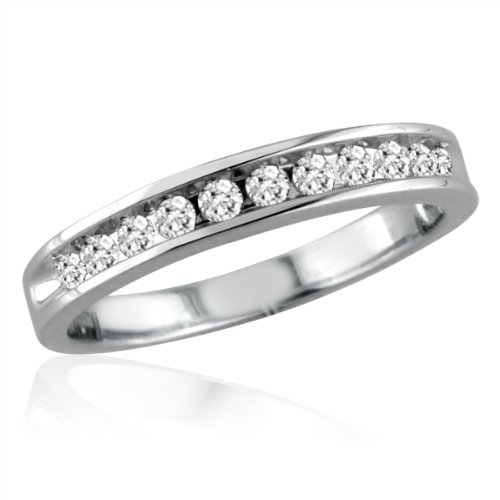 10K White Gold Ladies Channel Set Diamond Anniversary Ring (1/4cttw. Sizes 5-7 1/2)