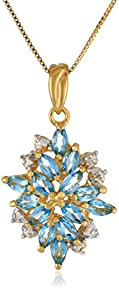 18k Yellow Gold-Plated Sterling Silver Genuine Swiss Blue Topaz Pendant Necklace, 18