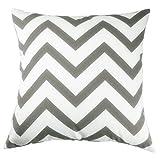 "TAOSON Chevron Cushion Cover Zig Zag Cotton Canvas Pillow Sofa Throw White Printed Linen(Yellow,Black,Orange,Navy Blue,Aqua,Gray) (18""x18""(45x45cm), Deep Gary)"