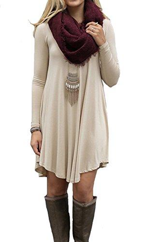 IGENJUN Women's Long Sleeve V-Neck Casual Loose T-Shirt Dress,XL,Beige