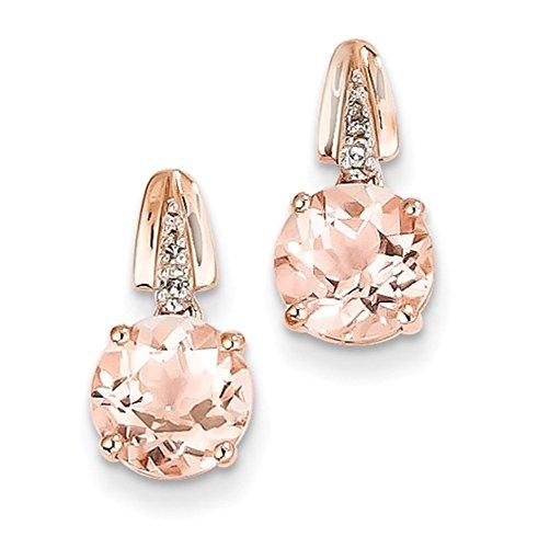 14K Rose Gold Diamond And Morganite Round Post Dangle Earrings