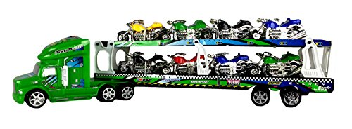 Tractor Trailer Big Rig Semi Truck Motorcycle Transport Hauler, 21 Inches (Motorcycle Toy Trailer compare prices)