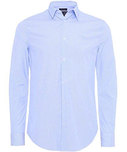 Armani Jeans Men's Camicia a righe vestibilità slim Blu XXL