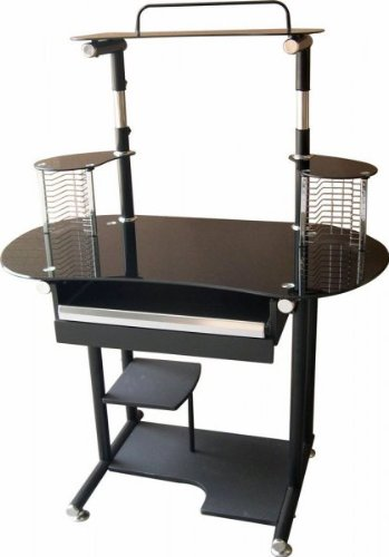 Buy Low Price Comfortable CD Rack Computer Cart with Black Sparkle Top (Black) (48.25″H x 40″W x 28.5″D) (B003S9Z3RK)