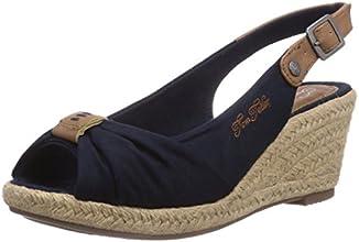 Tom Tailor 7590901- Sandales compensées femme -Navy,  39 EU
